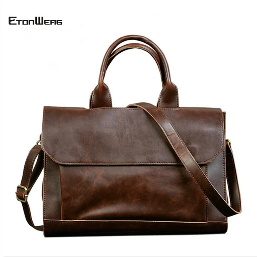 Business Office Briefcase Men's Handbag Brand Leather Tote Male Solid Computer Laptop Bag Vintage Man Messenger Bag Leisure 2019