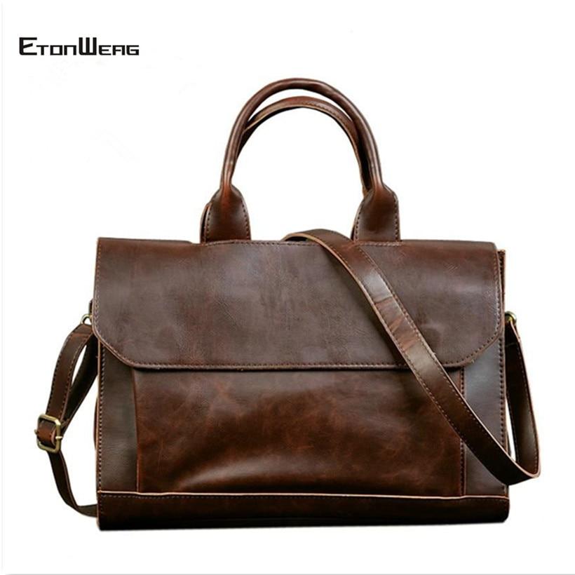 Business Office Briefcase Men's Handbag Brand Leather Tote Male Solid Computer Laptop Bag Vintage Man Messenger Bag Leisure 2019