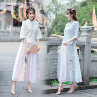 SHENG COCO Chinese Cosplay Hanfu Uniform Women Skirt Suit Embroidered Classic Oriental Chinese Uniform Chinese Dynasty Clothing