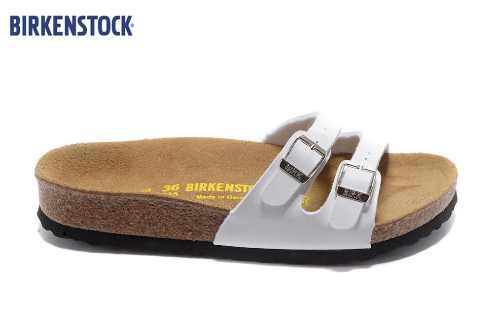 2019 BIRKENSTOCK 902 Slippers Women Party Two Buckles Shoes Summer Sandals Slippers Women Sandals White And Black Size:35-41