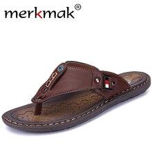 Merkmak New Brand Men Slippers Summer Beach Shoes Flip Flops High Quality Casual Sandal Leather Slip-On Breathable Sandalias