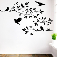 цена на Free Shipping Tree Bird Removable Vinyl Wall Sticker Decals For Bedroom Kids Room Decoration Decor Stickers Murals LW161