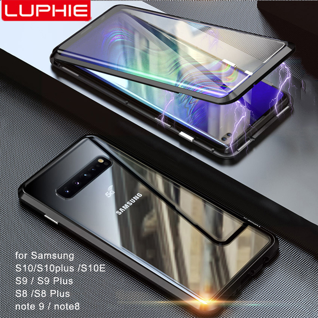 Luphie Full Wrapped Tempered Glass Magnetic Case for Samsung Galaxy S10 S10e S10 Plus 5G S9 Plus S9 Note 8 9 Magnet Phone Cover