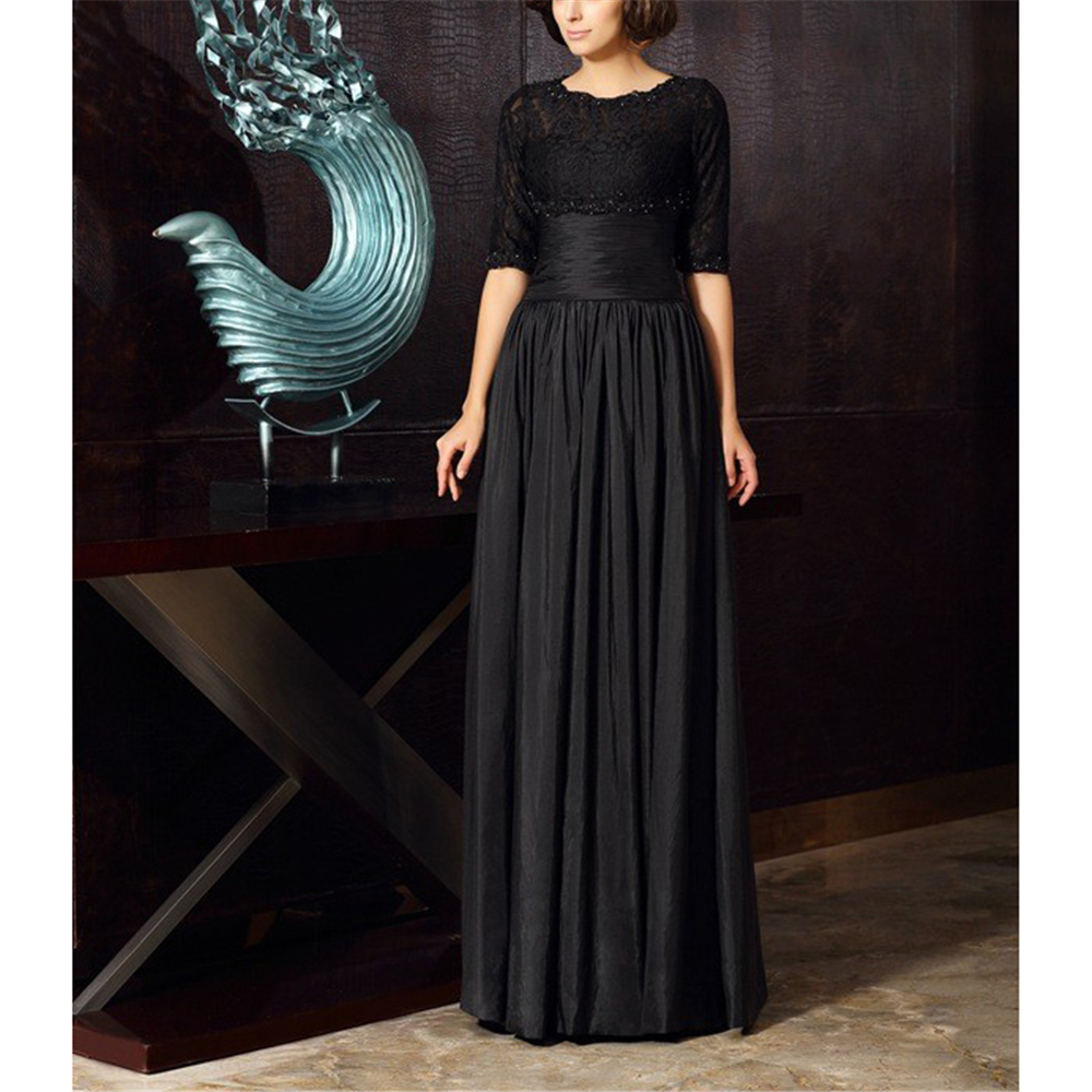Black Plus Size Mother Of The Bride Dresses Jacket A-line Gorgeous Half Sleeves Taffeta And Lace Ruffles Womnen's Dresses