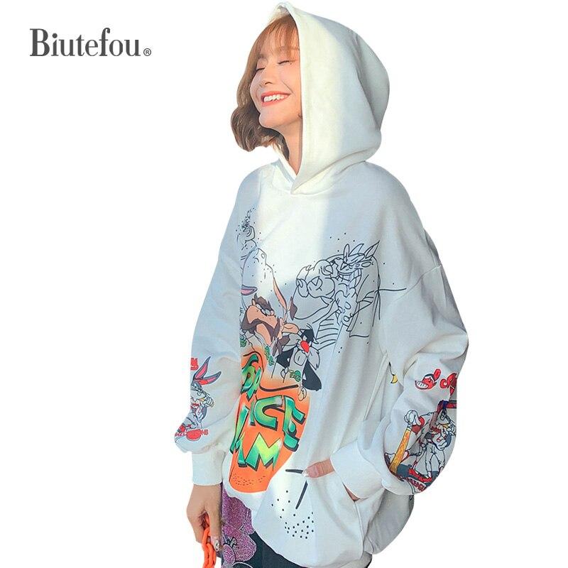 2019 Autumn Fashion Hooded Loose Sweatshirts Cartoon Print Women Cec Sweatshirts