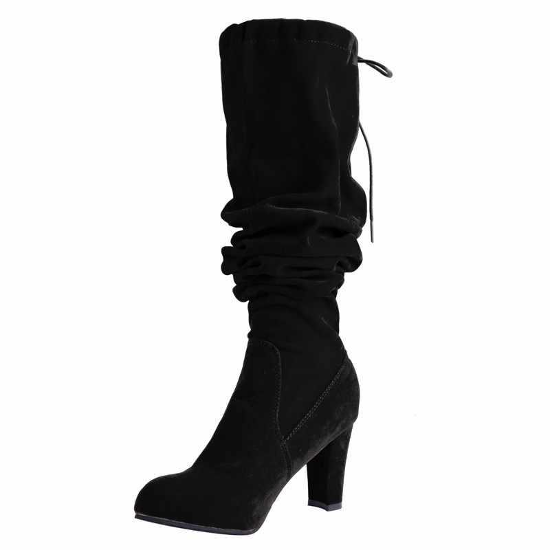 Sexy Vrouwen Laarzen Suede Hoge Hak Laarzen Vrouwelijke Winter Schoenen Over-De-Knie Laarzen Dij Hoge Laarzen Bota vrouwen Botas Mujer Plus Size