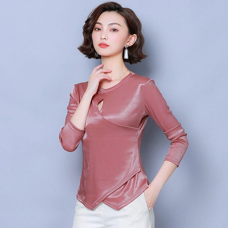 T-shirt d'automne à manches longues pour femmes chemise de tempérament mince 2019 nouveau col rond sauvage couleur unie T-shirt creux