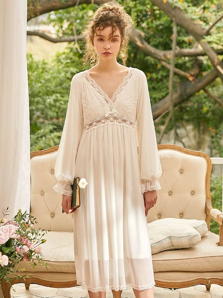 New Vintage Cotton Women's Long Nightgowns Long Sleeve Sweet White Lace Princess Royal Sleepwear Deep V-Neck Sexy Night Dress