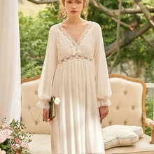 New Vintage Cotton Women's Long Nightgowns Long Sle