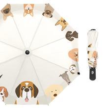 Dog Family Rain Umbrella Female Animal Folding Women Customized Windproof Fashion Golf Umbrellas for Kid 8 Ribs