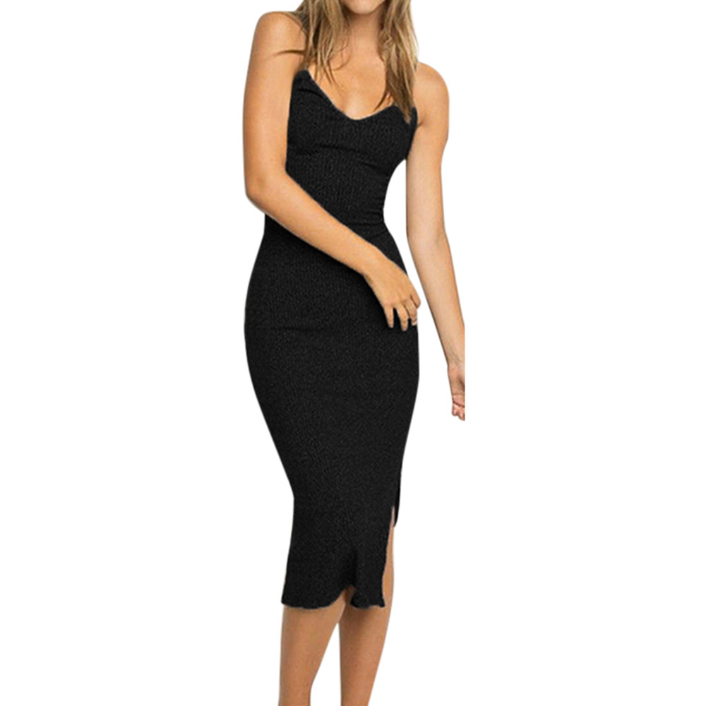 Womens Knit Split Party  Dress Sleeveless Midi Tank Dress Slim Rib Strappy