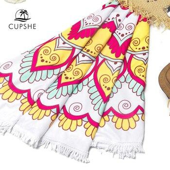 CUPSHE Boho Beach Towels Pineapple Printed 2020 Women Vacation Microfiber Round Fabric Bath Towel With Tassel 8 styles 6