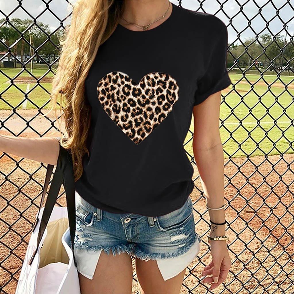 Футболка с принтом в виде леопардовых сердец ко Дню Св принт для женщин на День святого Валентина на каждый день, футболка с короткими рукав...