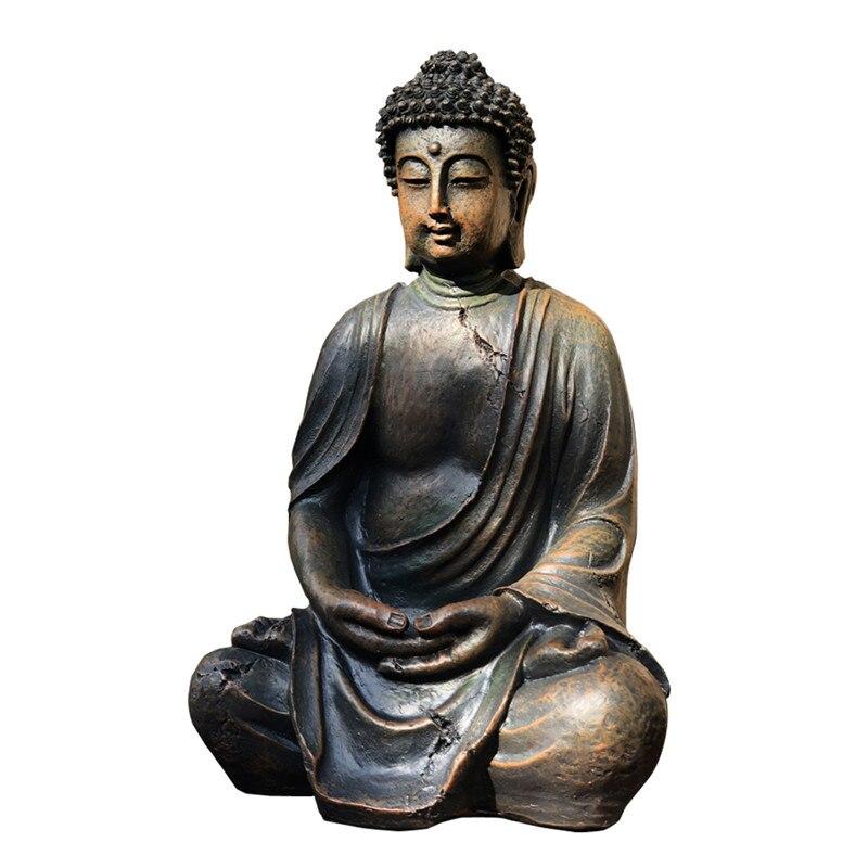 38cm Chinese Style Retro Buddha Statue Resin Crafts Buddha Head Sculpture Zen Garden Southeast Asia Entryway Decoration R2952