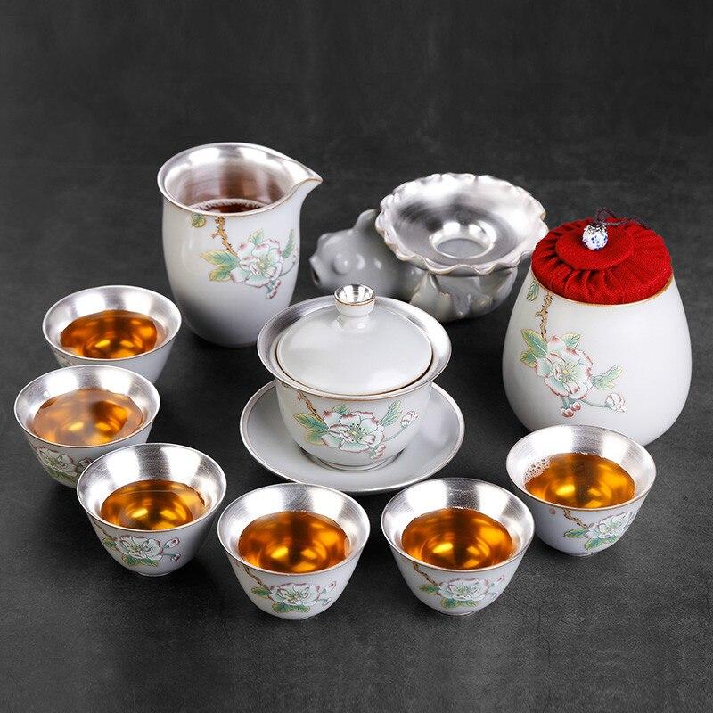 Tea Maker Teacup Ceramic Cup 6 Pieces Simple Porcelain Silver Tea Tea Set Home Small