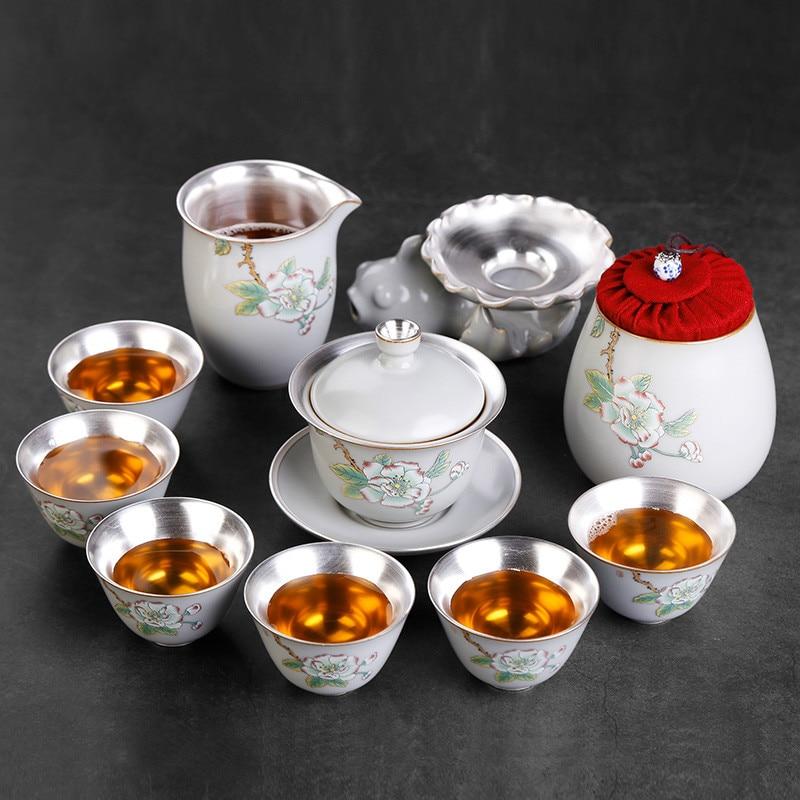 Ev ve Bahçe'ten Çay Takımı Setleri'de Çay makinesi çay fincanı seramik fincan 6 adet basit porselen gümüş çay çay seti ev küçük title=