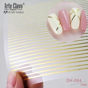 3D-Наклейки для ногтей Arte Clavo, золотые, черные, белые Переводные картинки с кисточками и полосками, прямоугольные изогнутые наклейки, украшен...