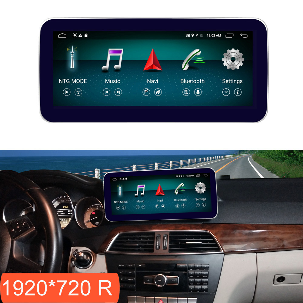 10.25 polegada 4 + 64g android display para mercedes benz c classe w204 2011-2014 tela de rádio do carro gps navegação bluetooth tela de toque