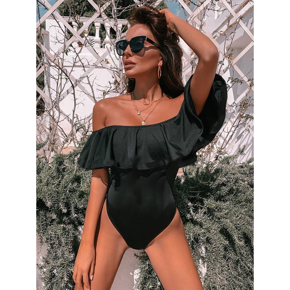 Ashgaily Black Lace Flounce Off Shoulder Swimsuit Women Sexy Bodysuit Monokini Swimwear Ruffle One Piece Swimsuit Bathing Suit