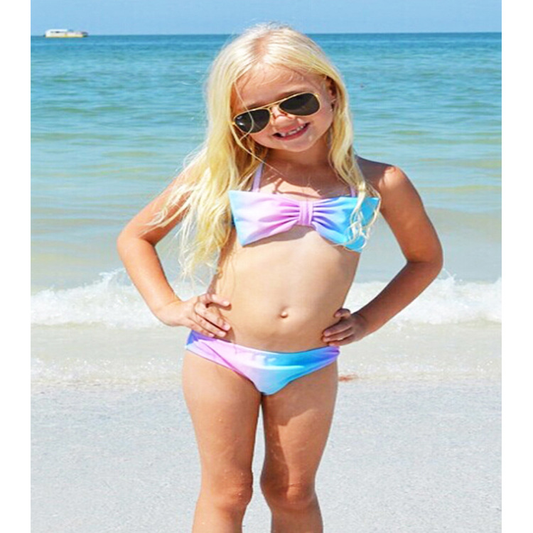 Export Special For INS Hot Selling CHILDREN'S Bikini Gradient Color Bow Split Type Swimsuit