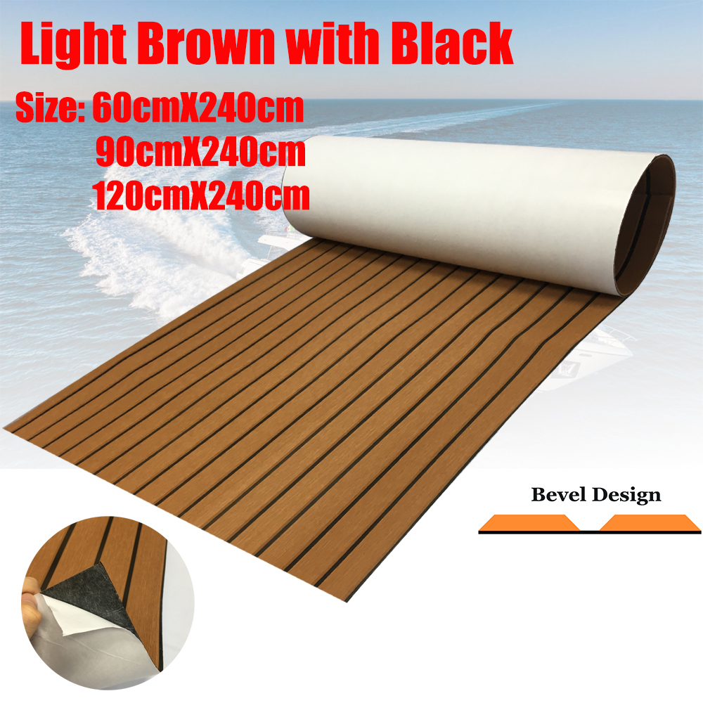 EVA Foam Bevel Edge Teak Decking Sheet For Yacht Marine Flooring Carpet 90cmX240cm Brown Boat Accessories
