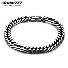 oulai777 men bracelets Simple chain on hand male stainless steel cuban link retro rock charm mens accessories