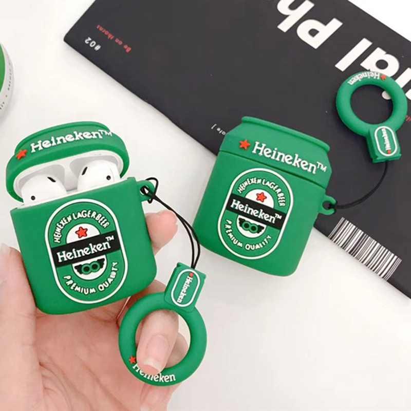 Panas Hijau Leisure Bir Cincin Silikon Lembut Earphone Nirkabel Bluetooth Cover untuk Apple AirPods 1 2 Kotak Jatuh headset Case