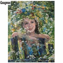 Full diy 3D diamond painting cross stitch flower garden beauty diamond embroidery abstract flower hat women picture home decorative mosaic painting Handmade 5d painting rhinestones