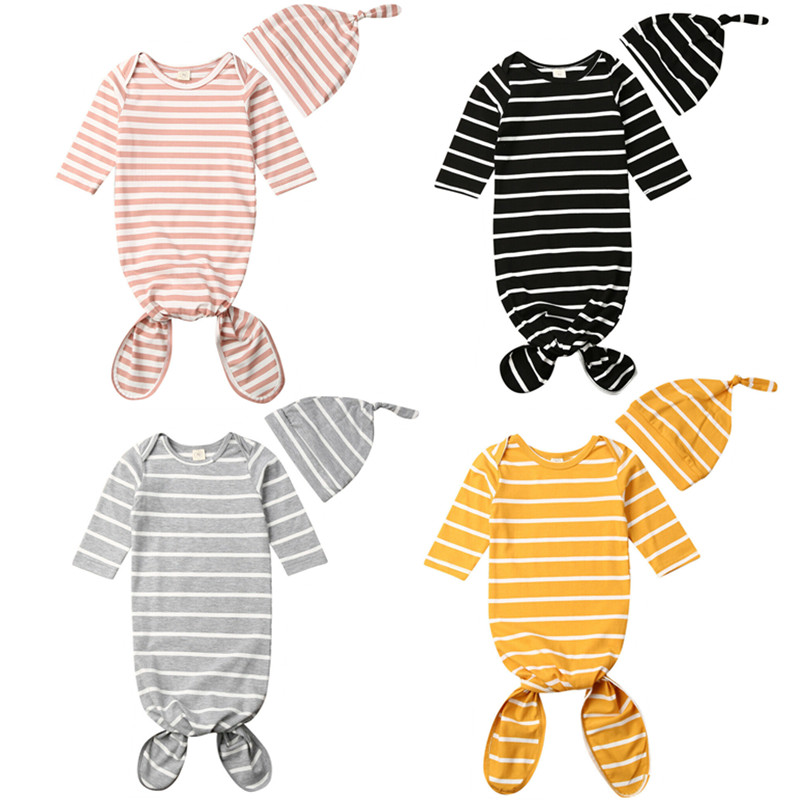 2PCS Newborn Baby Swaddle Muslin Blanket Infant Wrap Sleeping Bag+Hat Set  Receiving Blankets
