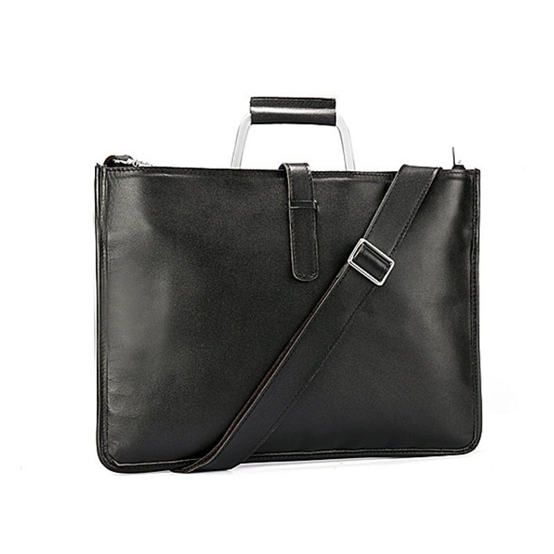 Genuine Leather High Capacity Document Bag For Documents Black Color File Folder With Handle