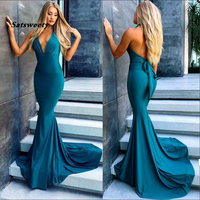 Turquoise Blue Side Slit Mermaid Bridesmaid Dresses Long Sexy Backless Wedding Party Dress 2020 V Neck Bride Maid of Honor Gowns
