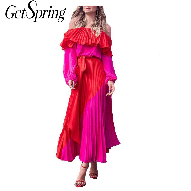 GetSpring Women Dress Slash Off Shoulder Dresses Evening Party Dress Plus Size Summer Dresses Bandage Pleated Long Red Dress