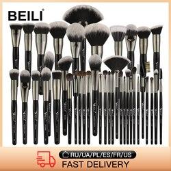 BEILI 40/35/15 Pieces Luxury Black Professional Makeup Brush Set Big Brushes Powder Foundation Blending Goat Hair Makeup Brushes