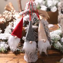 Boże narodzenie Santa szczęście Gnome Ornament butelka czerwonego wina pokrywa festiwal Party Xmas okno prezentacja lalka święty mikołaj wisiorek #30 tanie tanio ISHOWTIENDA Bez pudełka