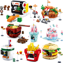 Architecture Compatible Legoingly  Mini City Street Food Building Block sembo Friends Creator Ice Cream Bricks Education Toy