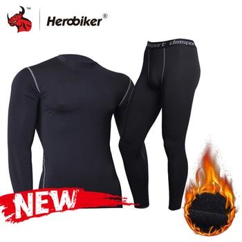 New Men Fleece Thermal Underwear Outdoor Sport Motorcycle Skiing Winter Warm Base Layers Tight Long Johns Tops & Pants Set 1