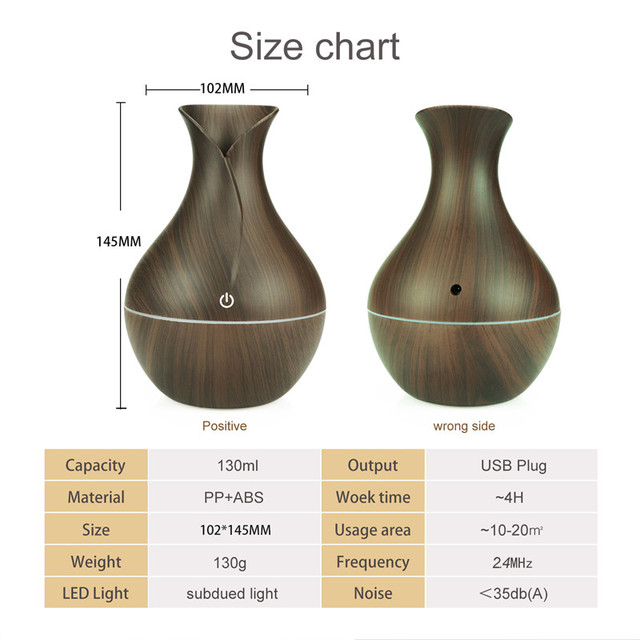 300ML Air Humidifier Essential Oil Diffuser wood grain Aromatherapy diffusers Aroma purifier MistMaker led light for Home 6