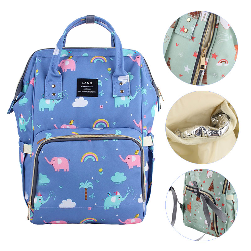 LAND Diaper Bag Baby Bags Colorful Travel Backpack Waterproof Mummy Bag Large Maternity Bags For Baby Care Nappy Changing Bag