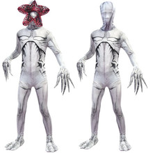 Stranger Things Adult Kids White Demogorgon The Monster Cosplay Costume Jumpsuit Mask Halloween For