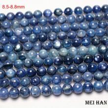 Meihan משלוח חינם 8.5 8.8mm & 9.2 9.8mm טבעי כחול kyanite חלק עגול אבן חרוזים תכשיטי ביצוע