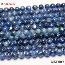 Meihan envío gratis 8,5 8,8mm y 9,2 9,8mm cianita azul natural liso cuentas redondas de piedra para la fabricación de joyas
