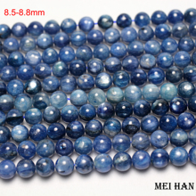 Meihan free shipping 8.5 8.8mm & 9.2 9.8mm natural blue kyanite smooth round stone beads For jewelry making