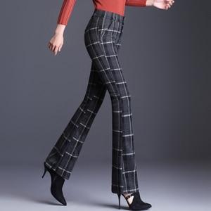 Autumn Winter Women Elasticity Bell-bottoms Pants Plus Size High Waist Elegant Long Pants Fashion Ladies Full Length Trousers