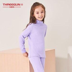 Image 4 - THREEGUN KIDS длинное термобелье; Детские Зимние хлопковые мягкие подштанники для мальчиков и девочек; одежда для сна с высоким воротом