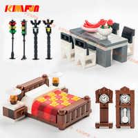 Accesorios de la ciudad MOC Street Traffic reloj ladrillos DIY mesa de escritorio cama bloques de construcción muebles juguetes para niños Legoings