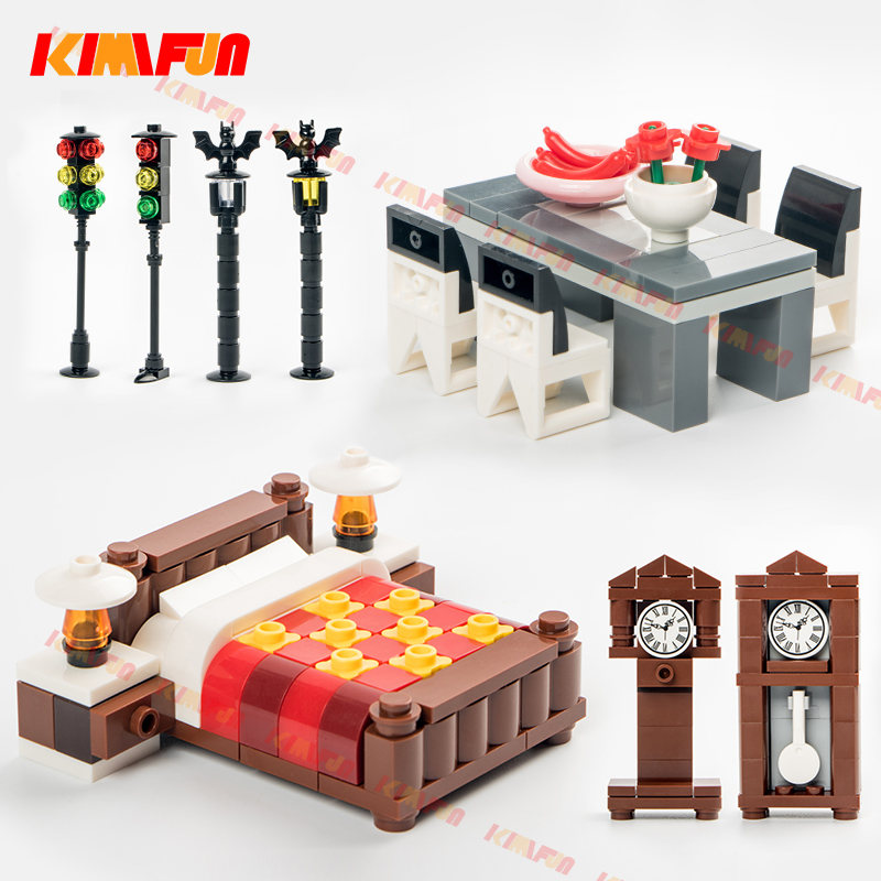 City Accessories MOC Street Traffic Light Clock Bricks DIY Desk Bed Table Building Blocks Furniture Toys For Children Legoings