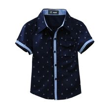 New 2020 Summer Children shirts Printing Anchor pattern Cotton 100% Short-sleeved Boy's shirts Fit for 3-14 Years kids shirts(China)