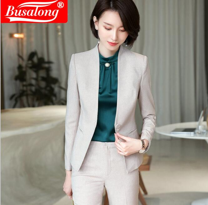 Fashion Women Pant Suits Long Sleeve Cotton Jackets Uniform  Single Breasted Tops And Trouser Women Business  Two Piece Sets