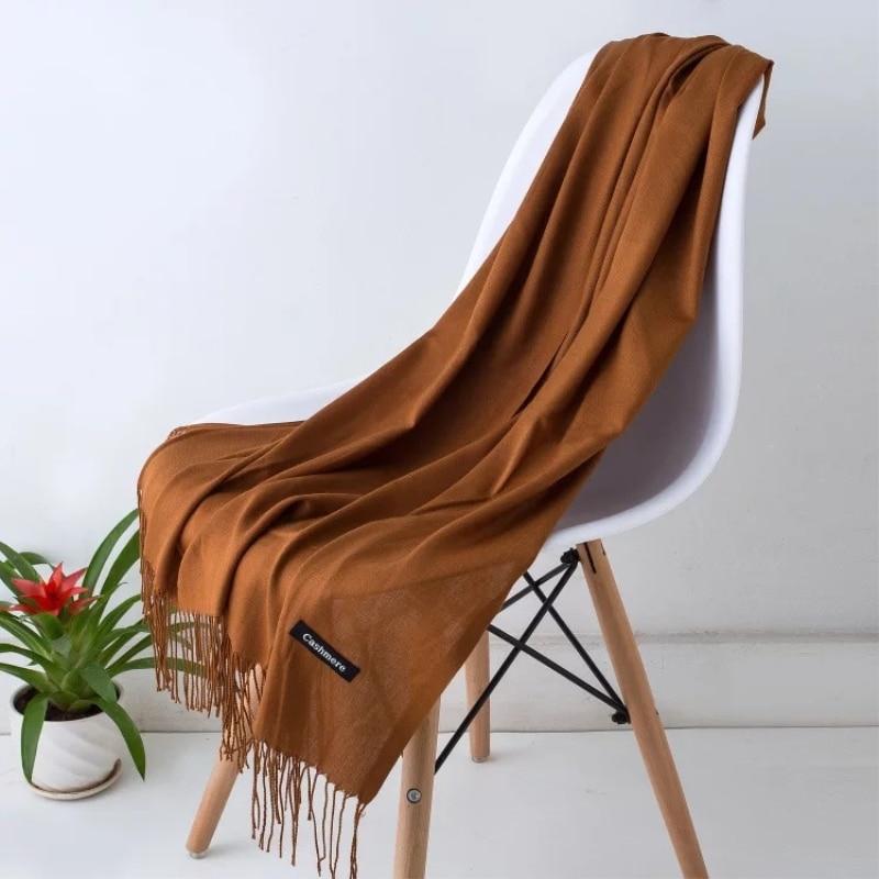 Women Solid Color Cashmere Scarves Tassel Lady Autumn Thin Long Scarf High Quality Female Shawl Men Wool Wrap Hijab Turban