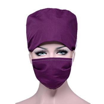 Hospital Surgical Women Hats Nursing Scrubs Caps Cotton Doctor Pharmacy Dentistry Nurse Solid Adjustable Work Caps Mask Sets